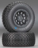 "Short Course Tires ""Choppers"", Blue On ""Hazard"" Rims (+3"