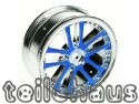 24 mm chromed 5 Dual Spoke Rims, Blue For Touring Cars