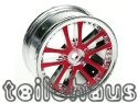 24 mm chromed 5 Dual Spoke Rims, Red For Touring Cars