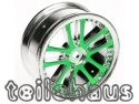 24 mm chromed 5 Dual Spoke Rims, Green For Touring Cars