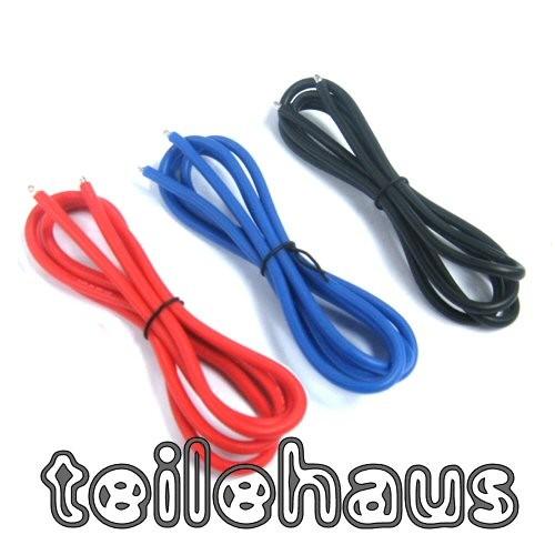 Silikon-Stromkabel/Schrumpfschlauch Set AWG 16, Schwarz/Rot/Blau ...