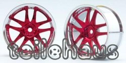 "Chromed Rims ""Rays Volk Racing GT-V"", Red f. Touring Cars (4 mm)"