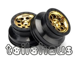 "Chromed 8 Hole Rims ""MK.8"", Gold, 4.5 mm f. Short Course Trucks"